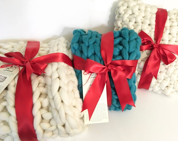 Super Chunky Knit Throw Blanket, COLOR, Pure Merino Wool, knit blanket, chunky throw,