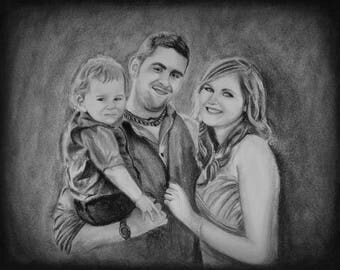 Custom Portrait Drawing, Realistic Portrait, Drawing from Photo, Family Drawing, Pencil Sketch from Photo, Drawing of Child, Gift for Mom
