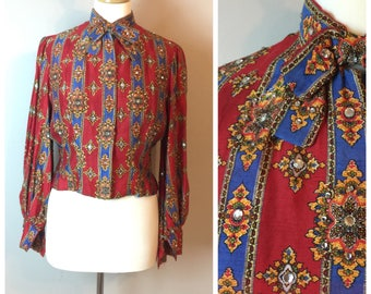 Vintage Rhinestone encrusted Patterned Silk 60's blouse