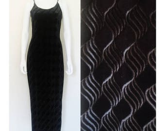 25% off SALE 90s Jessica McClintock Black Velvet Wavy Illusion Maxi Dress / Large Women's clothing / 1990's Formal Evening Dress