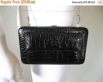 25% off SALE Black Faux Snakeskin wallet chain purse