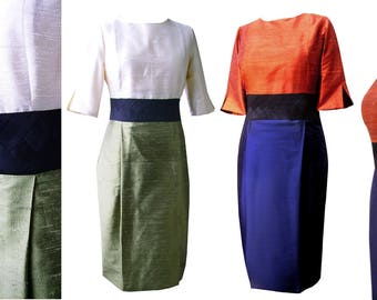 3 tone colored shiftdress with threequarter sleeves