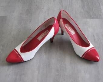 Vintage Women's Red & White Spectator Heels Pumps - size 7.5