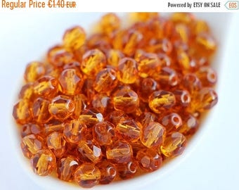 ON SALE -15% 6mm Dark Topaz (30pcs) Czech Beads Fire Polished Round Dark Amber Polish Faceted Round