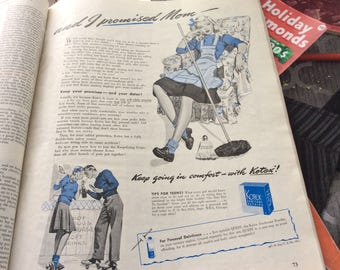 1943 vintage ad for KOTEX..hilarious ad..keep your promises and your dates. In great condition..