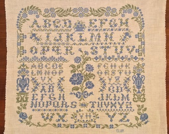 Cross Stitch Canvas- The Blue Letters - 45x45cm