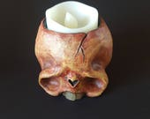 Skull with electric candle - orange 1