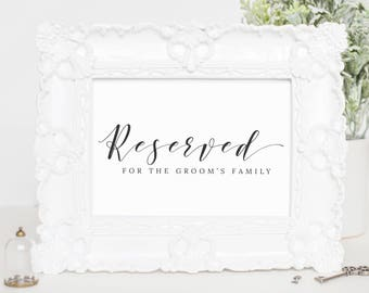 Reserved Wedding Sign, Reserved Sign Download, Reserved Sign Wedding Download, Calligraphy Wedding Sign, Ceremony Decorations, WP007_11
