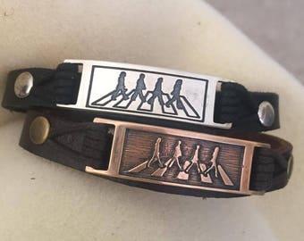 Beatles Abbey Road Inspired Leather Bracelet