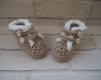 fur topped booties/new baby gift/crochet booties/Ugg booties/baby slippers/baby shoes/photo prop/christening shoes/baby shower gift.