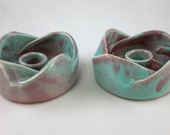 West Coast Pottery California Candlesticks Mid-century 1950s Aqua And Mauve Mold 514