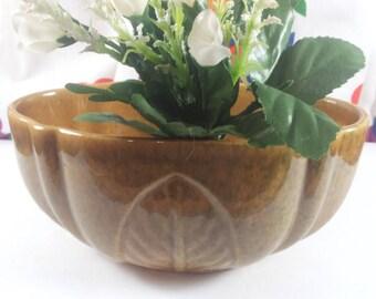 Haeger Mustard Glaze Oval Planter Leaf Motif
