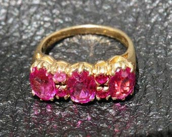 Victorian 10K Ring, Pink Sapphire Paste, Circa 1880