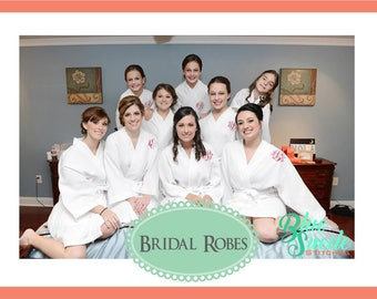 Monogram Waffle Robes - set of 13 | Wedding Robes | Personalized Bridesmaid Robes | Waffle Weave Robe | Bridal Party Gift