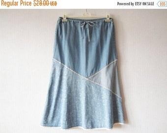 CIJ SALE Blue Denim Skirt Patchwork Skirt Light Blue Skirt Cotton Peasant Skirt Hippie Gypsy Bohemian Skirt Summer Skirt Large Size Skirt