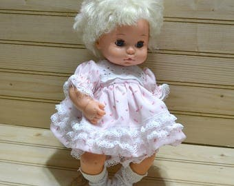Vintage Soft Rubber Doll 1970s Hong Kong 1977 Playmates Sleepy Eyes Nodding Head Baby Collectible Kids Toy TV Movie Photo Prop