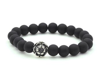 Matte Black Onyx Bracelet on stretch cord