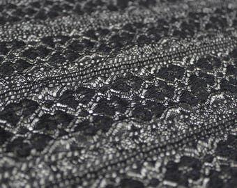 Black Victorian Crochet  Stretch Lace Fabric by the Yard- Style CO-2417