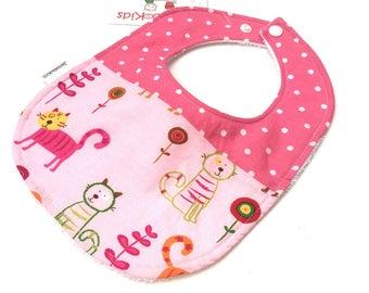 Pink Cat Baby Bib - Baby Girl Bibs - Pink Animal Bib -  Toddler Bibs - Newborn Baby Girl Gifts - Baby Bibs - Baby Gift Under 10 - 25