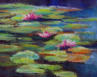 Pink Blooms- 5x7 - Pastel on textured surface