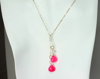 Hot Pink Lariat Necklace, Pink Chalcedony Jewelry, Y Necklace, Pink Gemstone, Hot Pink Gold Necklace, Pink Gemstone Lariat, Summer Jewelry