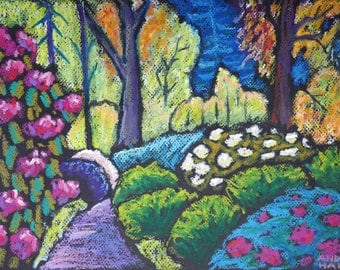 """9x12 Original Oil Pastel Painting- """"Morning in Dreamland"""" -Expressionist Landscape- not a print"""