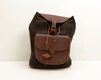 Vintage Black Suede and Brown Leather Backpack; Greece Grunge Boho Festival Tote Cute; FREE SHIPPING U.S.A.