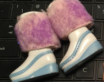 DOLL BOOTS, White with Pink FUR Tops