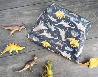 MADE TO ORDER Limited Edition Dinosaurs wipe clean wash bag, child's travel toiletry bag