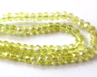 10 x beads 5x2mm JONQUILL AB glass Rondelle faceted 2