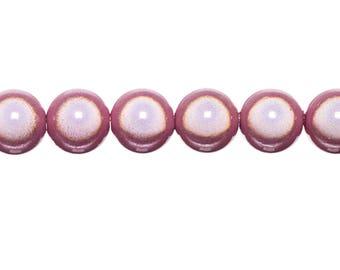 5 x 14mm - pink powder magic round beads
