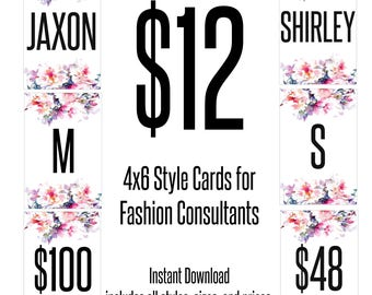 Style, Price, and Size Cards for Fashion Retailers - Includes NEW STYLES - 4x6 inch