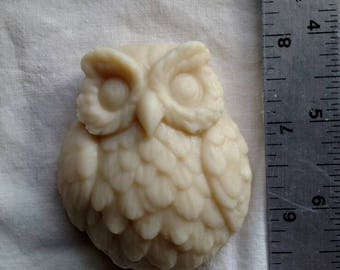 """Owl molded """"Lavender"""" goat milk soap."""