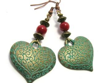 Bronze/Coral Heart Earrings - Handmade Earrings