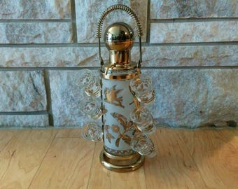 Vintage Mid-Century Modern Shot-glass Decanter Pump with 6 glasses - Gold Caddy, Frosted Glass and Gold Leaves