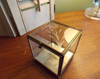 antique brass frame glass display case to highlight a treasure square etched glass display case