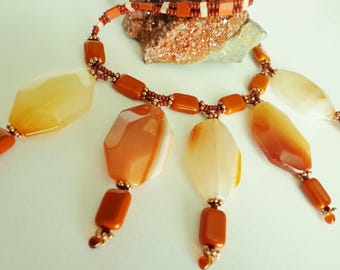 Red Agate Pendant Necklace, Vintage Glass Beads Necklace, Red Agate Gemstone Beaded Necklace, Burnt Orange & Peach