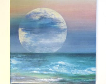 Ocean Moon Art Tile Trivet Origianl Watercolor Decorative Tile