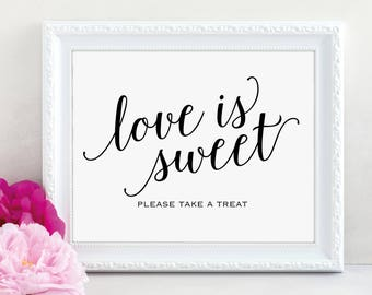 Love is Sweet Sign, Please Take a Treat, Dessert Table Sign, Wedding Printable, Take a Treat, Wedding Sign, PDF Instant Download, MM01-1