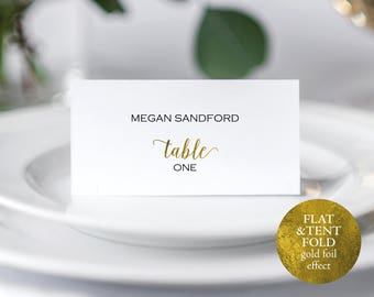 Gold Wedding Place Cards, Place Card Template, Place Card Wedding, Wedding Printable, Gold Wedding, PDF Instant Download, MM01-3