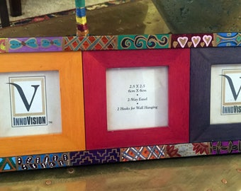 "Hand Painted Quilt Design Three  Picture Frame  For Home or Office  5.5""hx14""wx1""d, Picture 2.5""x2.5"" F0069"