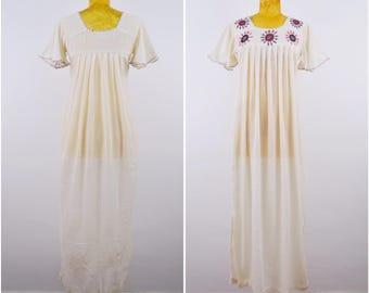 Indian Goddess Maxi Dress | 70s vtg cotton dress | Deadstock India sheer Gauze dress | BOHO dress Hand embroidery w mirrors Bohemian dress