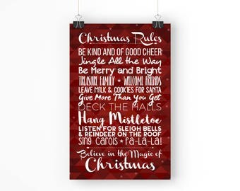 Christmas Rules - 11x17 Poster - Instant Download Digital Print