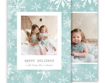 Christmas card template, Holiday card template, Watercolor christmas card, Snowflake Christmas Card Template