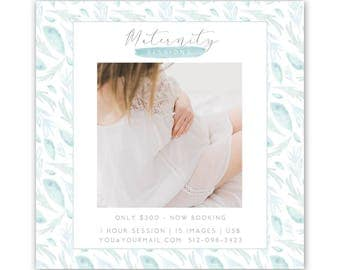 Maternity Session Template, photography marketing template, watercolor mini session template,  Maternity Mini Session Template