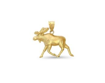 14k solid gold Alaskan Moose pendant.  animal jewelry