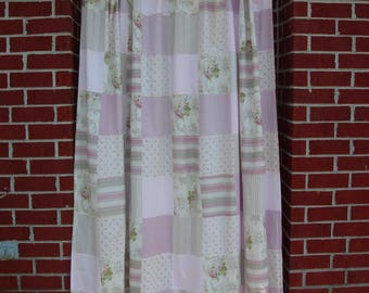 Patchwork Pink Floral Cabbage Rose Shabby Chic or Cottage Chic Fully Lined Shower Curtain from Famous Home Fashions