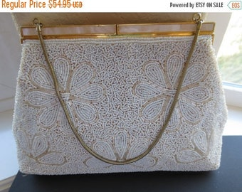 ON SALE Vintage 1950s white seed beaded handbag. Made in Hong Kong. Free Shipping.