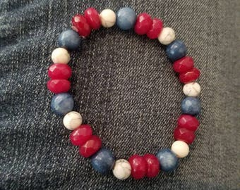 Red white and blue beaded stretch bracelet