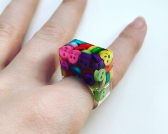 Cute as a button resin ring